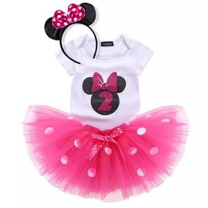 Minnie Mouse 2nd Birthday Outfit with Tulle Skirt